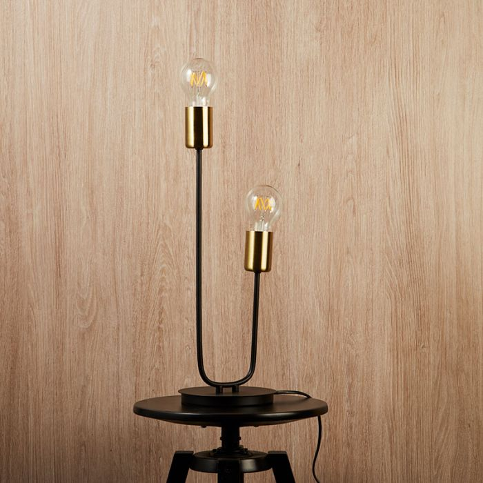 Exposed bulb table lamp