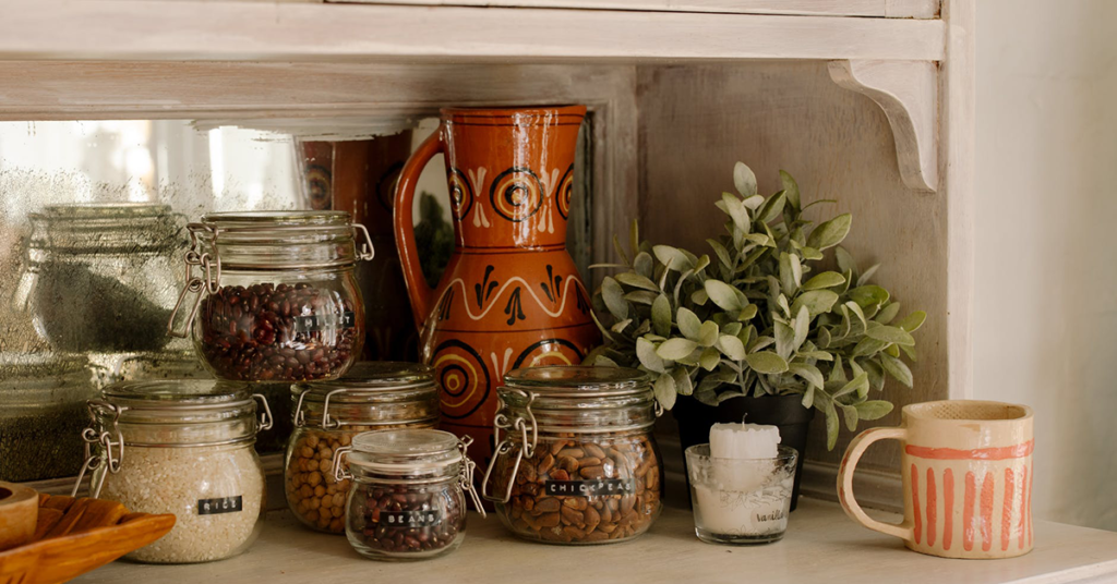 glass jar food storage kitchen aesthetic
