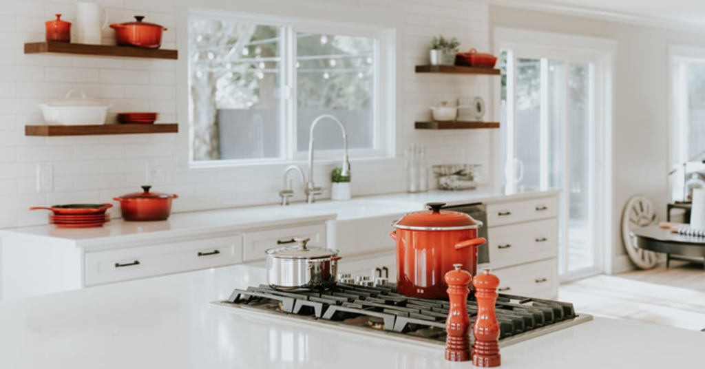 pop of colour beautiful kitchen orange