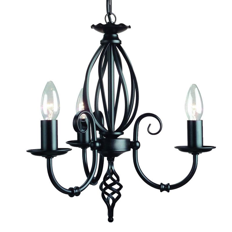elstead artisan 3 light dual mount chandelier ceiling light  black
