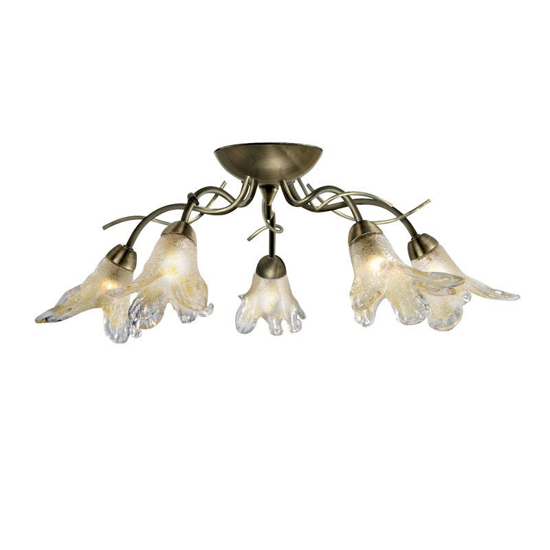 Searchlight Lily 5 Arm Semi-Flush Ceiling Light - Antique