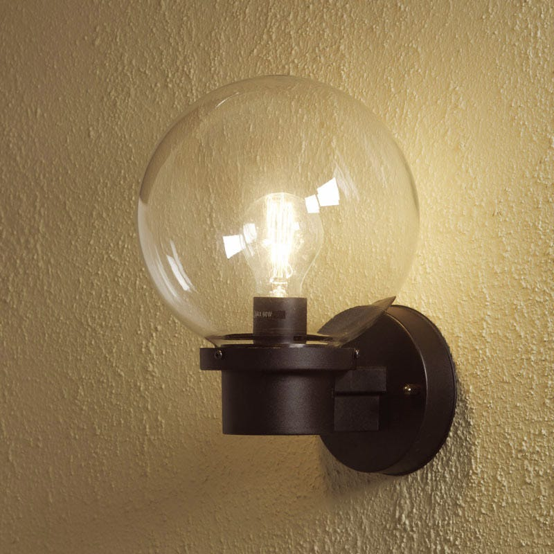nemi globe outdoor wall light with dusk to dawn sensor konstsmide. Black Bedroom Furniture Sets. Home Design Ideas