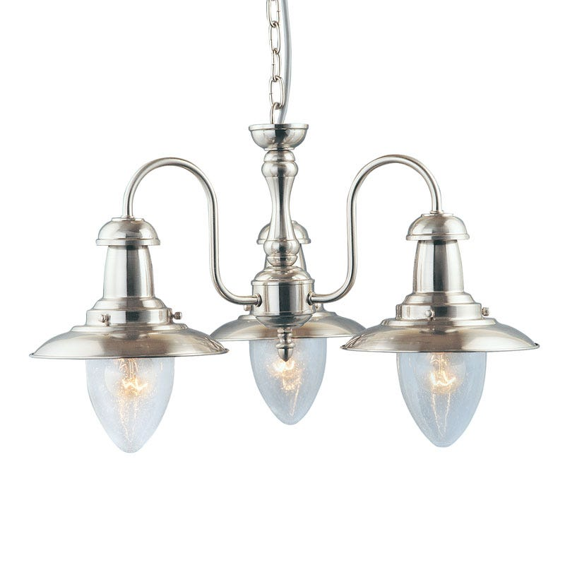 Searchlight Fisherman 3 Light Chandelier - Satin Silver