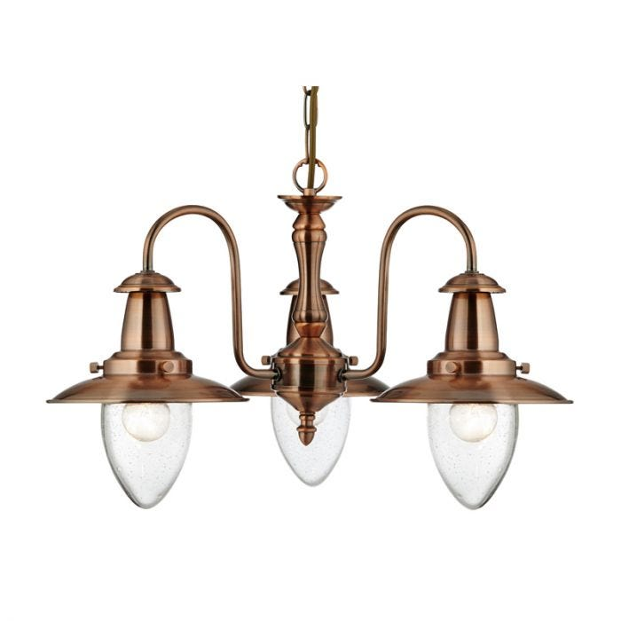 Searchlight Fisherman 3 Light Chandelier - Copper