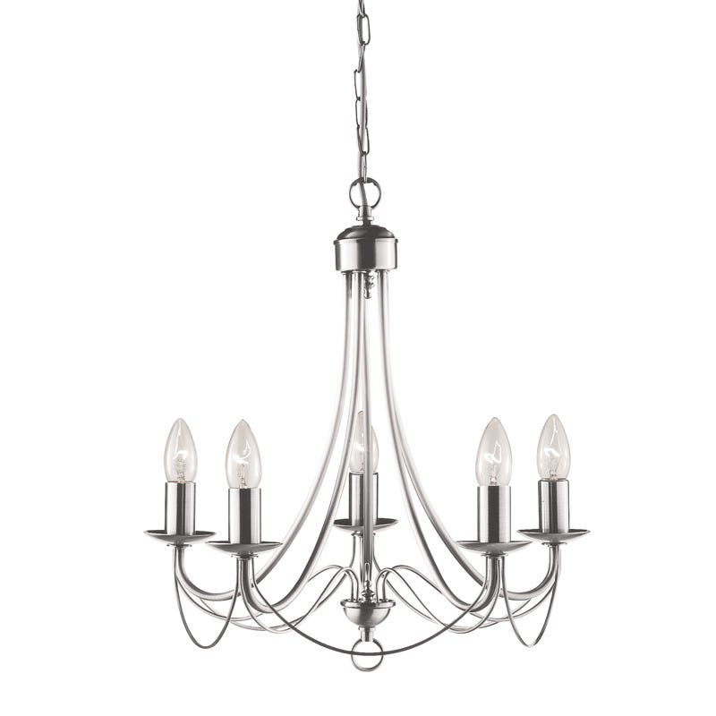 Maypole 5 light chandelier satin silver lighting direct aloadofball Gallery