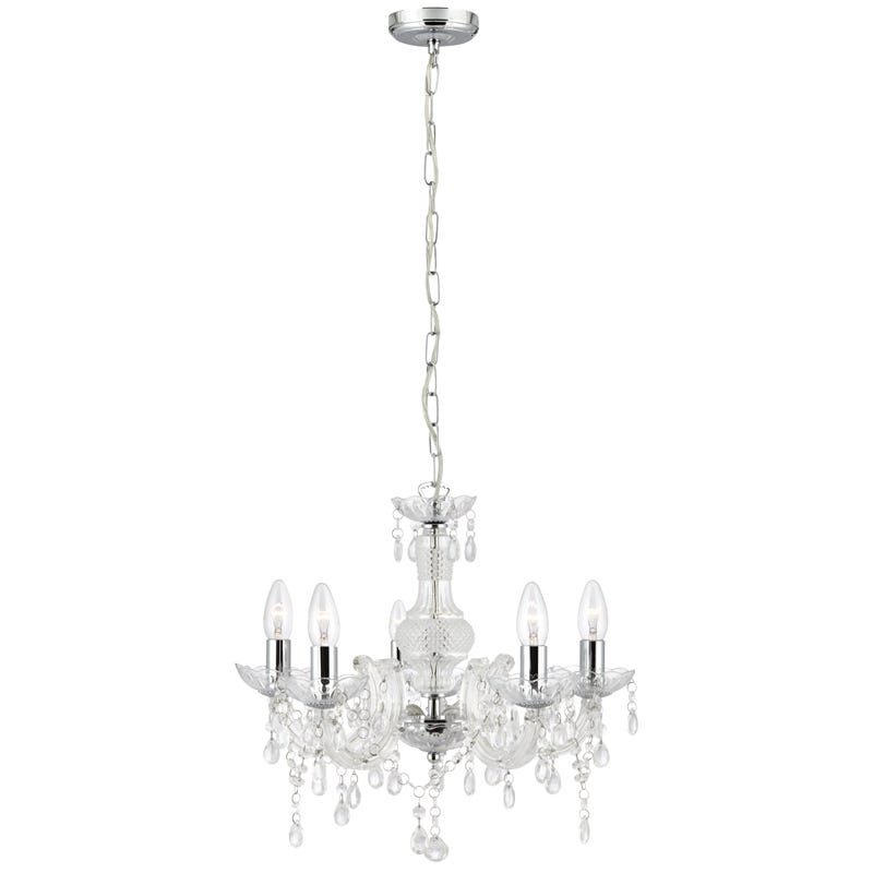 Searchlight Marie Therese 5 Light Chandelier Ceiling Light  Clear