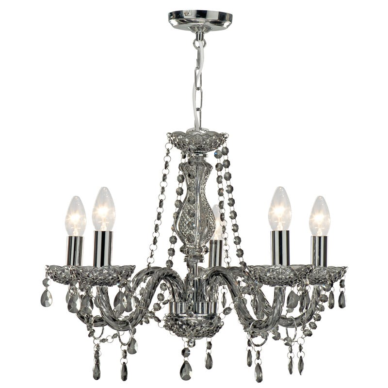 Searchlight Marie Therese 5 Light Chandelier Ceiling Light  Smoked Grey