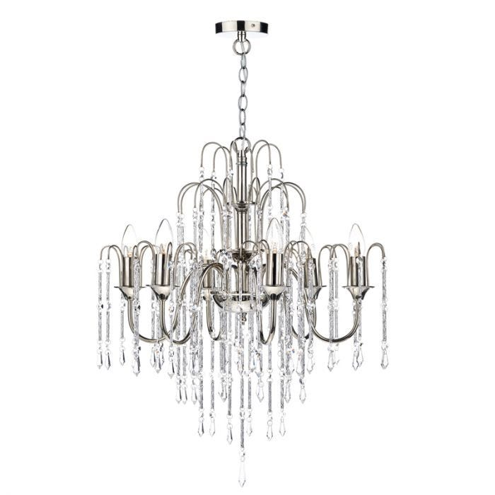 Dar Daniella 6 Light Dual Mount Chandelier - Polished Nickel