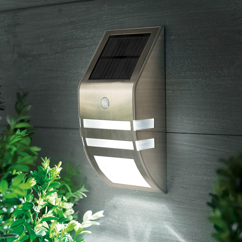 Cole and Bright LED Solar Flush Wall Light with PIR Sensor - Stainless Steel