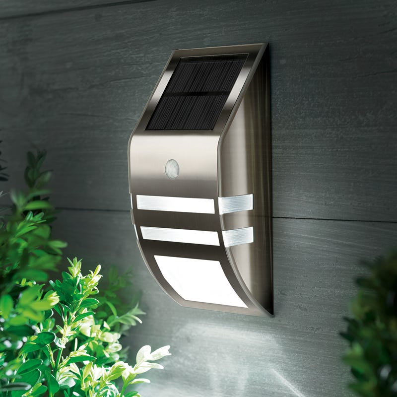Cole and Bright LED Solar Flush Wall Light with PIR Sensor - Black Nickel