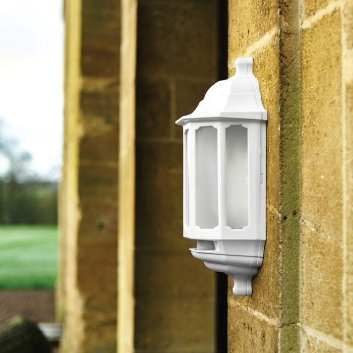 ASD Hi-Lo LED Half Lantern Outdoor Wall Light with Dusk to Dawn and PIR Sensor - White