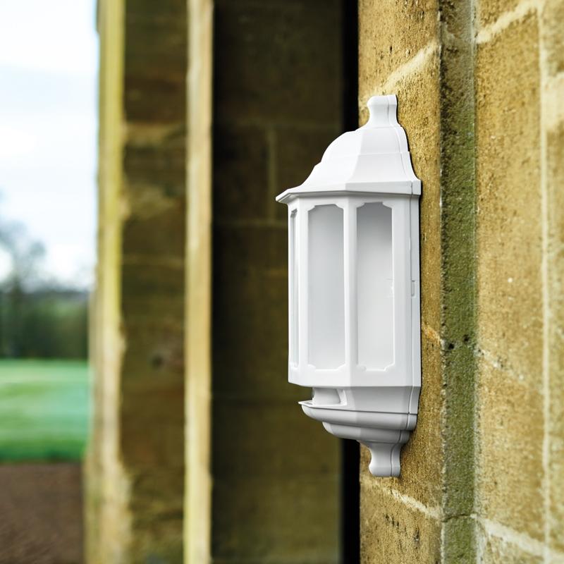 ASD LED Half Lantern Outdoor Wall Light with Dusk to Dawn Sensor - White