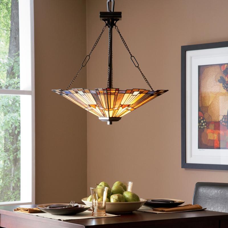 Quoizel Tiffany Inglenook 3 Light Ceiling Pendant Uplighter