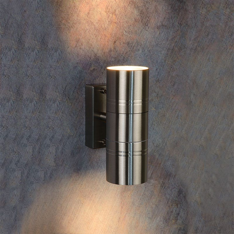 SALE on Lucide Arne Outdoor Twin Wall Light - Satin Chrome - Lucide. Now Available our Best Price o