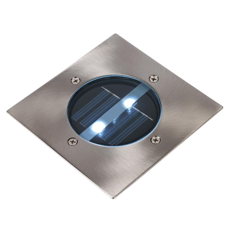 Lucide Solar LED Square Deck Light - Brushed Chrome
