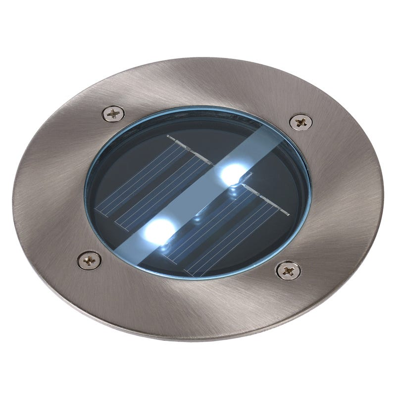 Lucide Solar LED Round Deck Light - Brushed Chrome
