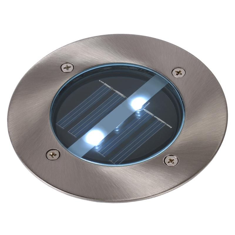 Lucide Solar LED Round Deck Light - Brushed Chrome