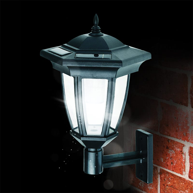 Cole and Bright LED Solar Coach Lantern Wall Light - Black