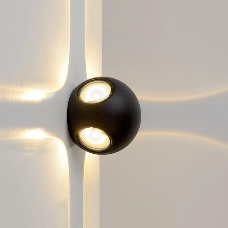 Lucide Yupla LED Outdoor Wall Light  Black