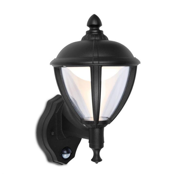 Lutec Unite LED Wall Light with PIR Sensor - Black