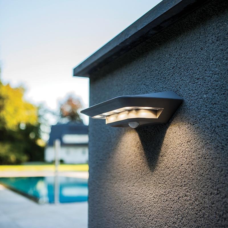Lutec Ghost LED Solar Wall Light with PIR Sensor - Silver