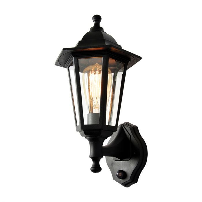 Forum Coastal Bianca Outdoor Lantern Wall Light with PIR Sensor - Black