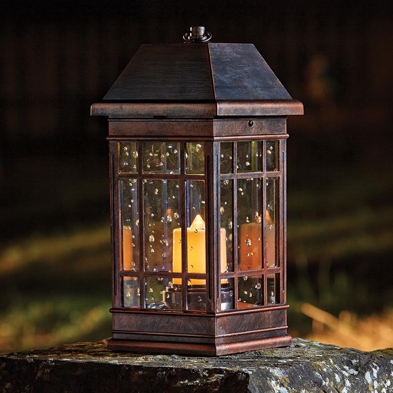 Seville Outdoor LED Solar Lantern  Antique Bronze