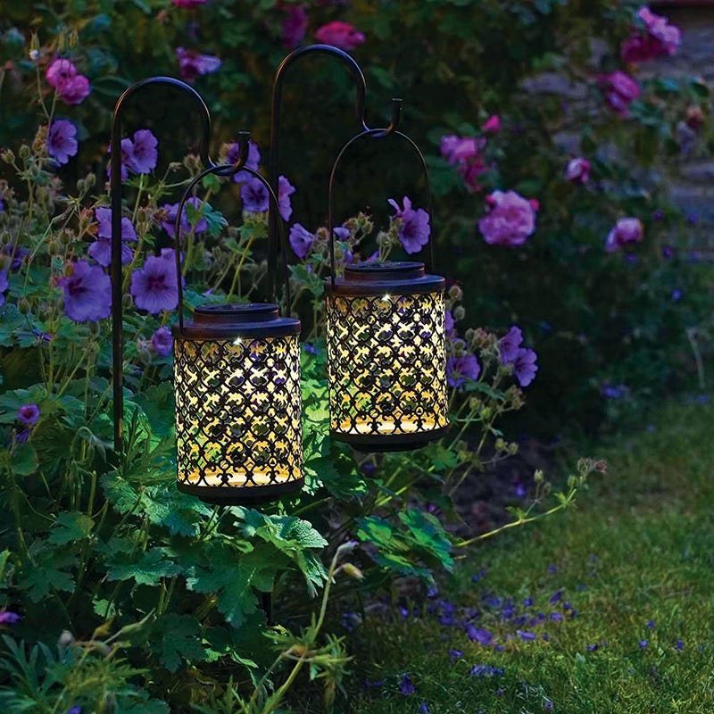 Riad Outdoor LED Solar Lantern Stake Lights  Antique Bronze  Set of 2