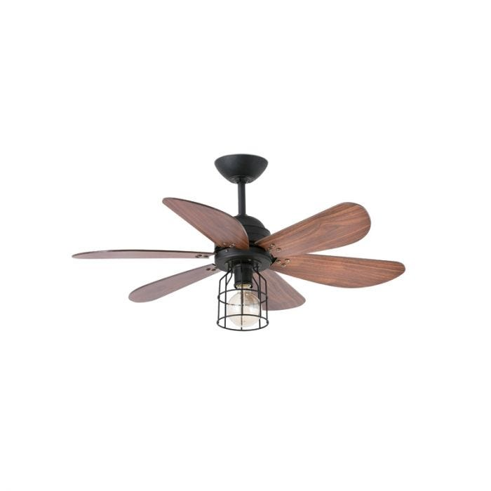 Faro Barcelona Chicago Ceiling Fan with Light and Remote Control - Black