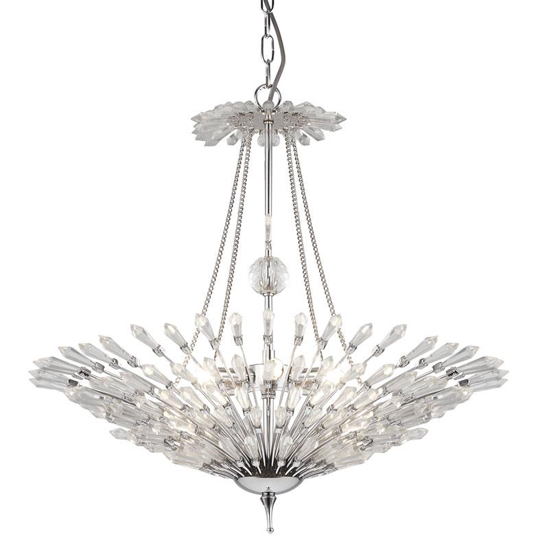 Searchlight Fan Glass Ceiling Pendant Light - Chrome