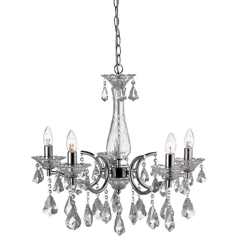 Sparreholm 5 Light Chandelier - Chrome