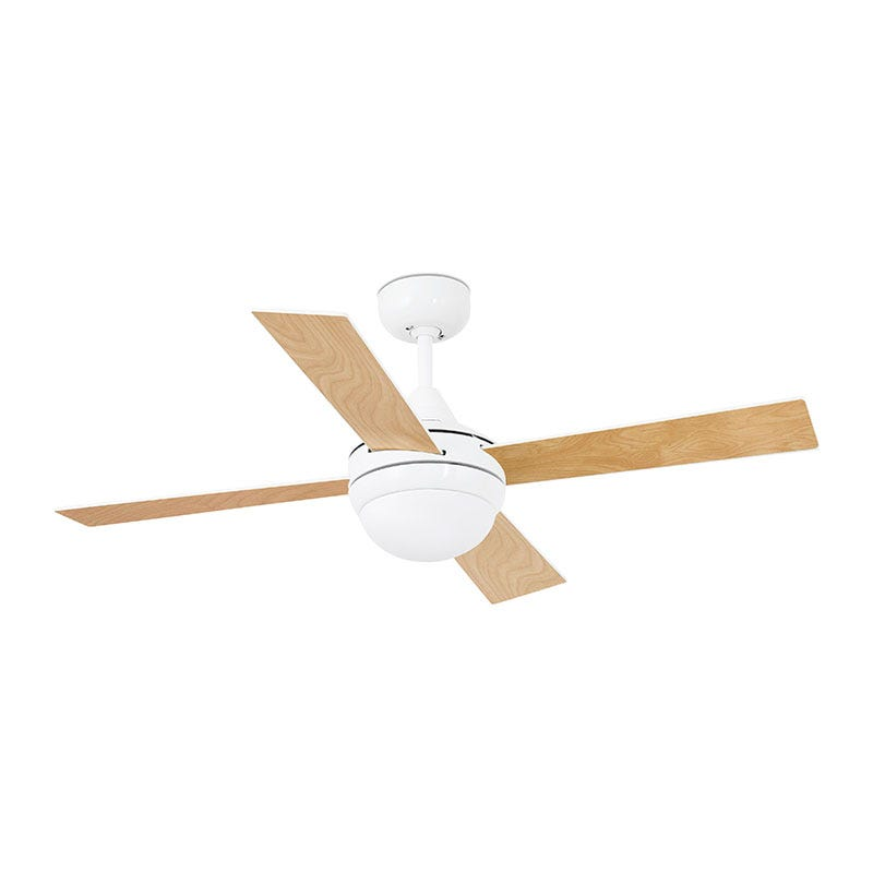 Faro Barcelona Mini Icaria Ceiling Fan with Light and Remote Control - White