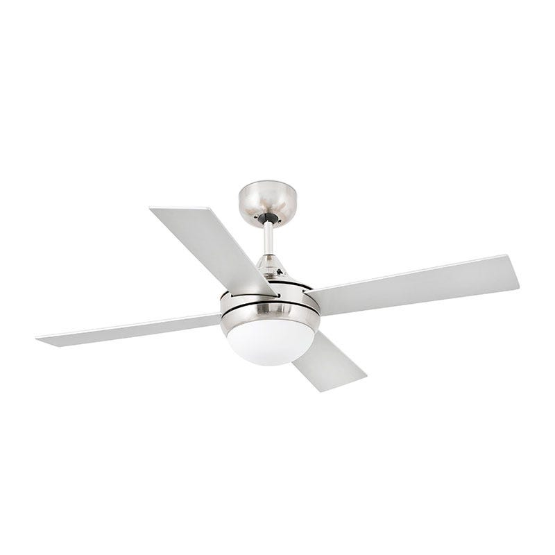 Faro Barcelona Mini Icaria Ceiling Fan with Light and Remote Control - Matt Nickel