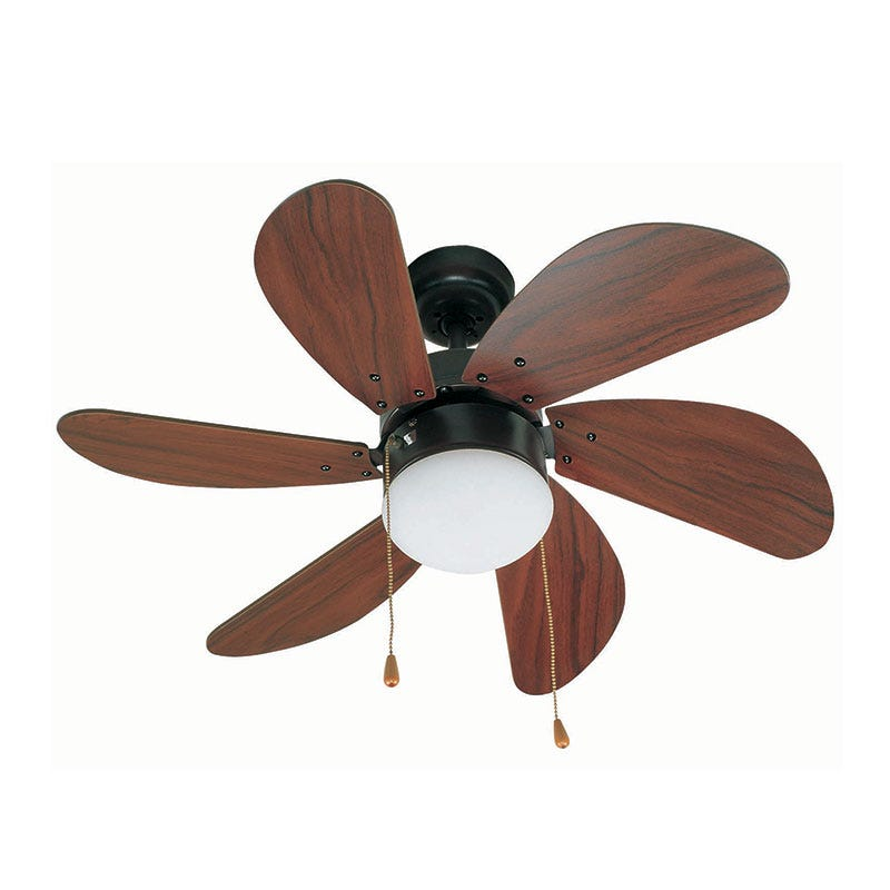 Faro Barcelona Palao Ceiling Fan with Light - Black & Mahogany
