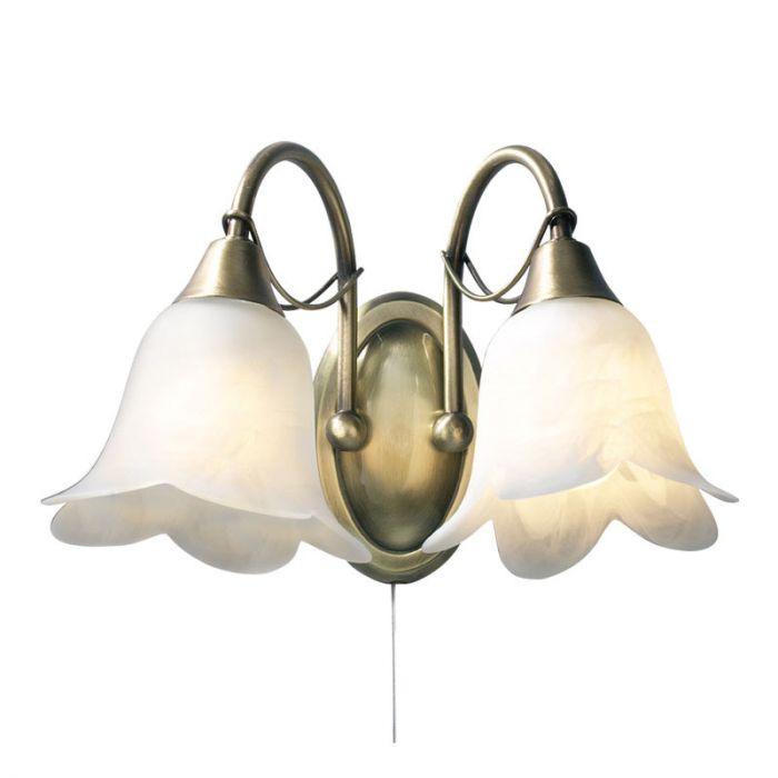 Dar Doublet 2 Light Wall Light - Antique Brass