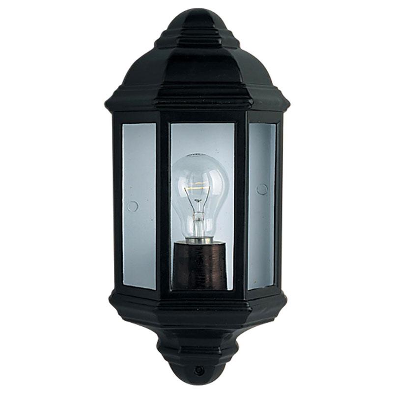 Searchlight Trapani Half Lantern Outdoor Wall Light - Black