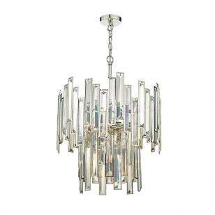 Dar Odile 6 Light Crystal Ceiling Pendant Light - Polished Nickel