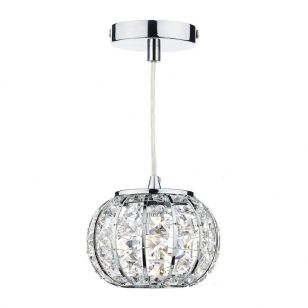 Dar Rae Crystal Ceiling Pendant Light - Polished Chrome