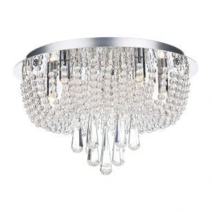 Dar Saigon Crystal Flush Light - Polished Chrome