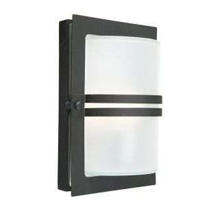Norlys Basel Frosted Glass Outdoor Flush Wall Light - Black