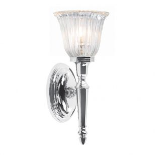 Elstead Dryden Fluted LED Wall Light - Polished Chrome
