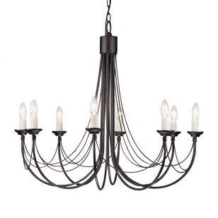 Elstead Carisbrooke 8 Light Chandelier - Black