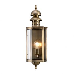 Elstead Downing Street Half Lantern Outdoor Wall Light - Aged Brass