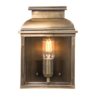 Elstead Old Bailey Half Lantern Outdoor Wall Light - Aged Brass
