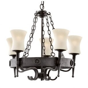 Searchlight Cartwheel Wrought 5 Light Chandelier