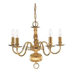 Searchlight Flemish 5 Light Chandelier - Antique Brass