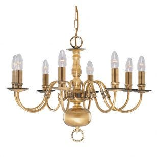 Searchlight Flemish 8 Light Chandelier - Antique Brass