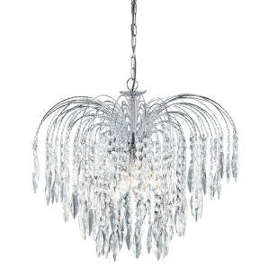 Searchlight Waterfall 5 Light Chandelier - Chrome