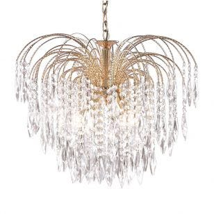 Searchlight Waterfall Large Chandelier - Gold
