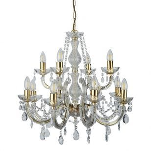 Searchlight Marie Therese 12 Light Chandelier - Brass